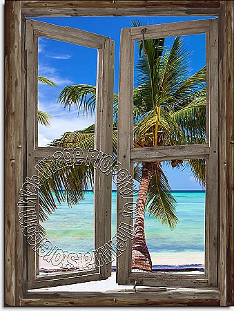 Beach Cabin Window Mural #5 One-piece Peel and Stick Canvas Wall Mural