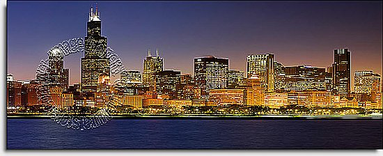 Chicago Skyline One-piece Peel & Stick Canvas Wall Mural