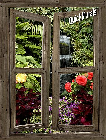 Waterfall Cabin Window Mural #5 One-piece Peel & Stick Canvas Wall Mural