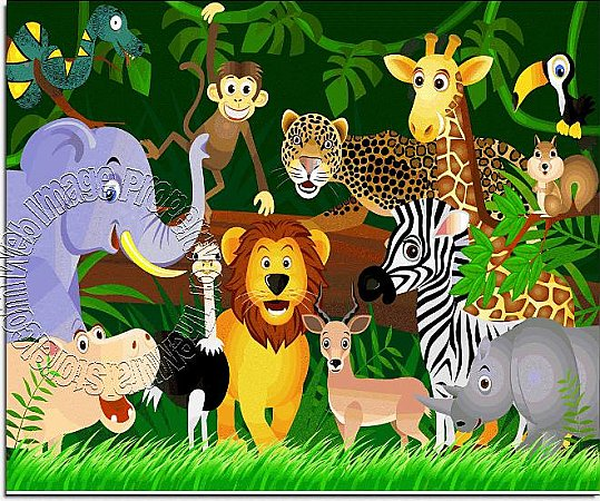 Jungle Friends One-piece Peel & Stick Canvas Wall Mural