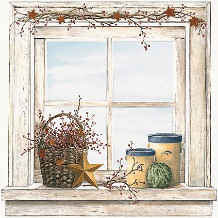 Country Window with Baskets Art Accent Mural PC4087MMP