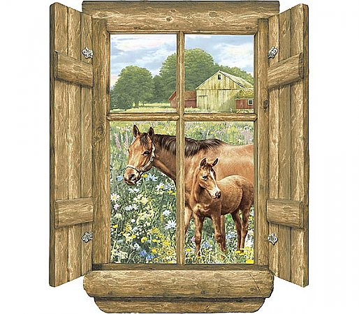 Log Window - Horses Accent Mural WK9882M