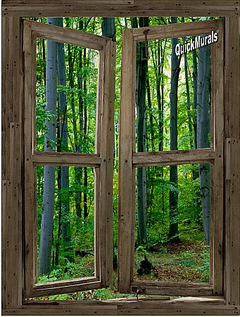 Woodland Cabin Window Peel & Stick (1 piece) Canvas Wall Mural