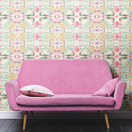 SYNCHRONIZED FLORAL PINK PEEL & STICK WALLPAPER