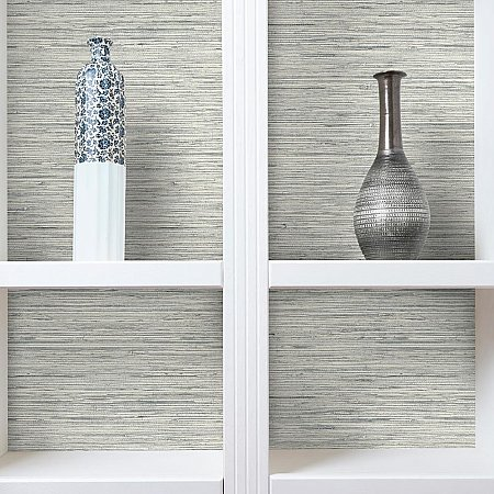 GRASSCLOTH GREY PEEL & STICK WALLPAPER