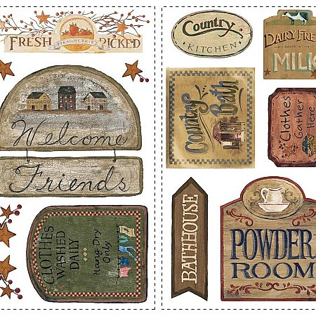 COUNTRY SIGNS PEEL & STICK WALL DECALS