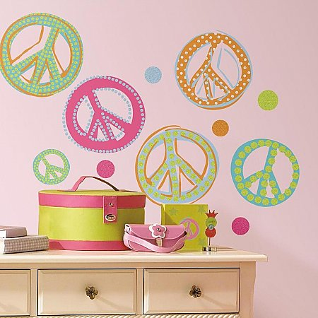 PEACE SIGNS PEEL & STICK WALL DECALS - GLITTER