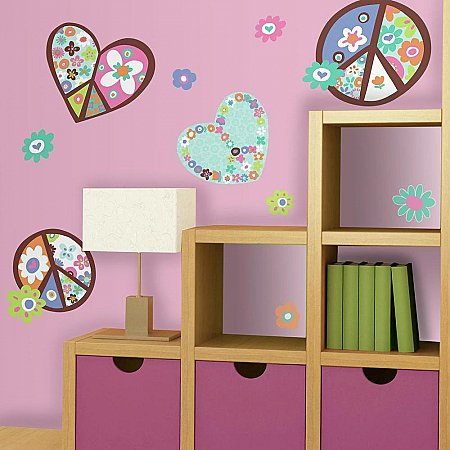 HEART & FLOWER PEACE SIGN PEEL & STICK GIANT WALL DECAL