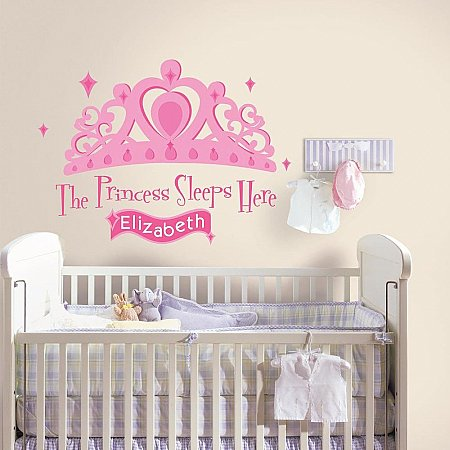 PRINCESS SLEEPS HERE PEEL & STICK GIANT WALL DECAL W/PERSONALIZATION