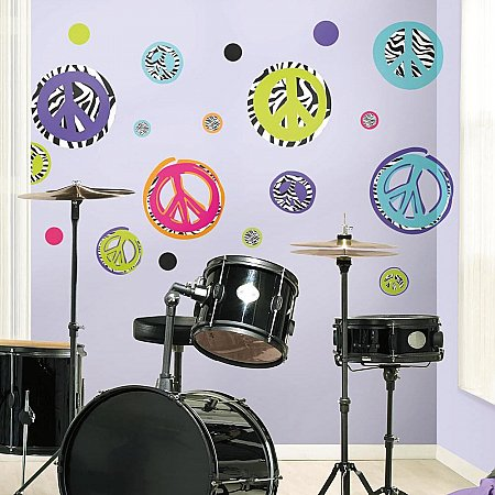 ZEBRA PEACE SIGNS PEEL & STICK WALL DECALS