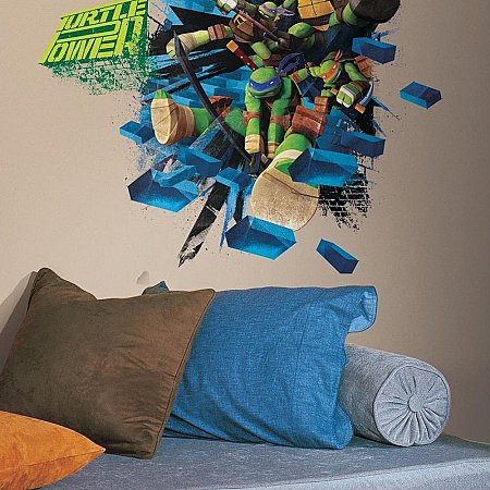 TEENAGE MUTANT NINJA TURTLES BRICK POSTER PEEL & STICK GIANT WALL DECAL
