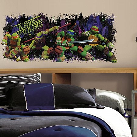 TEENAGE MUTANT NINJA TURTLE TROUBLE GRAPHIC PEEL & STICK WALL DECALS
