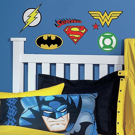 DC SUPERHERO LOGOS PEEL AND STICK WALL DECALS