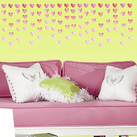 WATERCOLOR HEART PEEL AND STICK WALL DECALS