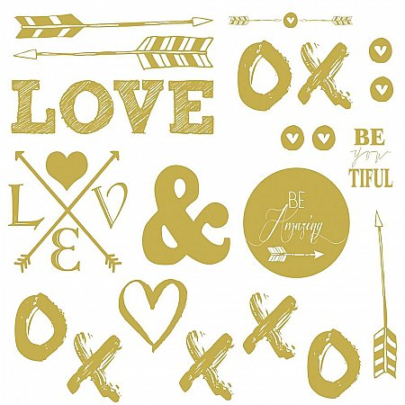 GOLD LOVE WITH HEARTS AND ARROWS PEEL AND STICK WALL DECALS