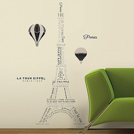 EIFFEL TOWER NEUTRAL PEEL AND STICK GIANT WALL DECALS