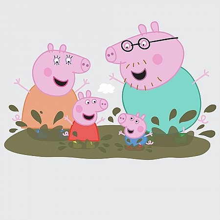 PEPPA THE PIG - FAMILY MUDDY PUDDLES PEEL AND STICK GIANT WALL DECALS