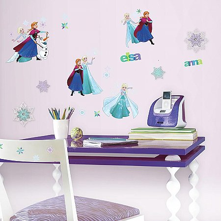 FROZEN  FUN PEEL AND STICK WALL DECALS W/ 3D EMBELLISHMENTS