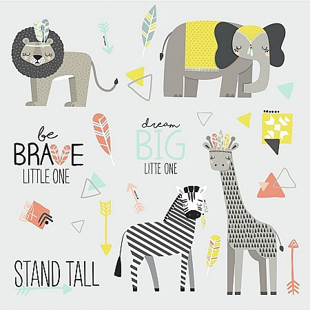 LITTLE EXPLORER ANIMAL PEEL AND STICK WALL DECALS