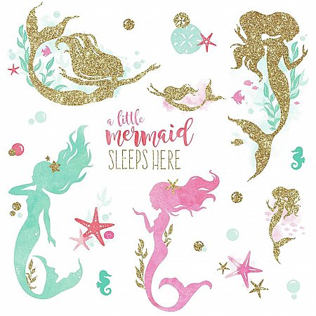 MERMAID PEEL AND STICK WALL DECALS WITH GLTTER