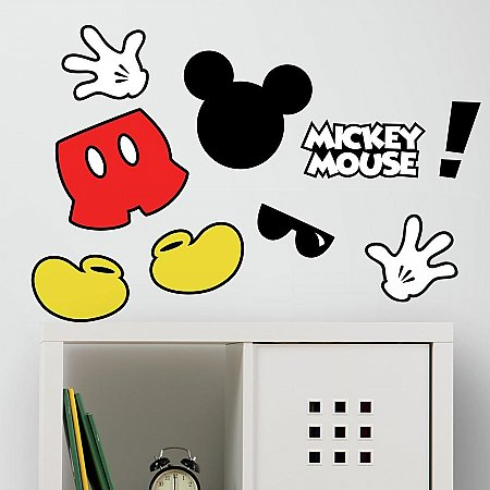 MICKEY MOUSE ICONS PEEL AND STICK WALL DECALS WITH FLOCK