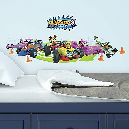 MICKEY AND THE ROADSTERS RACING LEAGUE PEEL AND STICK WALL DECALS