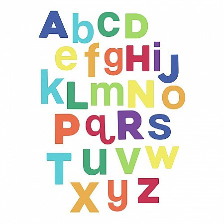 MULTICOLORED ALPHABET PEEL AND STICK WALL DECALS