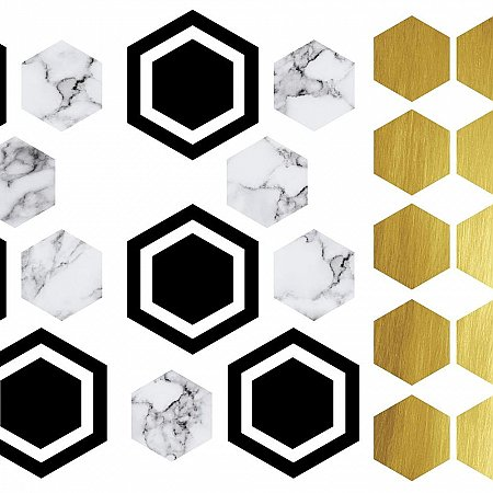 HEXAGON PEEL AND STICK WALL DECALS WITH FOIL