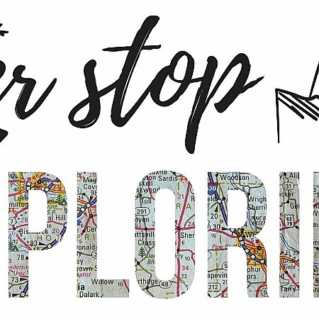 NEVER STOP EXPLORING QUOTE PEEL AND STICK WALL DECALS