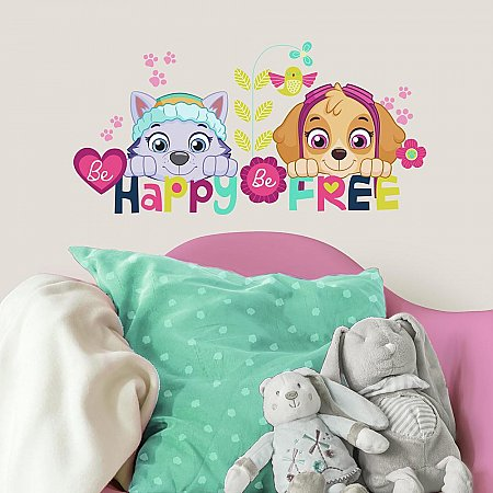 PAW PATROL SKYE AND EVEREST BE HAPPY QUOTE PEEL AND STICK WALL DECALS
