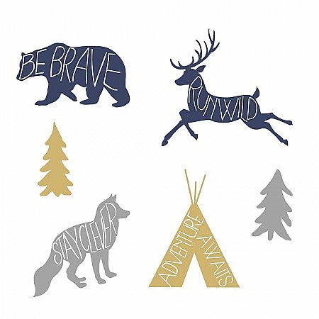 ADVENTURE AWAITS ANIMAL PEEL AND STICK GIANT WALL DECALS