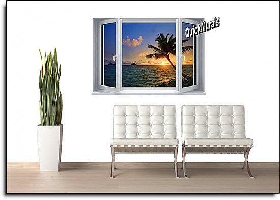 Sunset Palm Window One-piece Peel and Stick Canvas Wall Mural