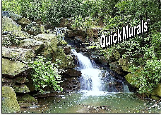 Mountain Waterfall Peel & Stick Canvas Wall Mural by QuickMurals